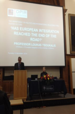 Has European Integration Reached the End of the Road? On 13 November, Loukas Tsoukalis gave the Cyril Foster Lecture 2014 which is the principal annual guest lecture at the University of Oxford in the field of International Relations.